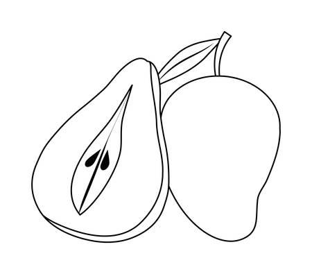 fresh half pear with mango fruits vector illustration design