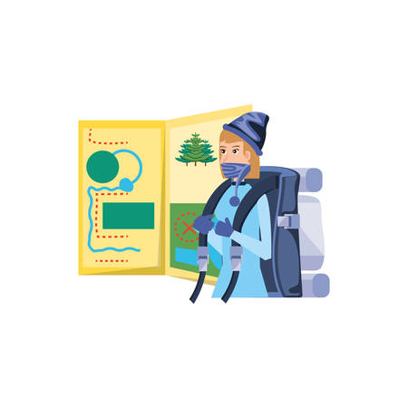 traveler woman with travel bag and map guide vector illustration design Illustration
