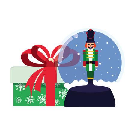 christmas nutcracker snow globe and gift vector illustration Ilustração