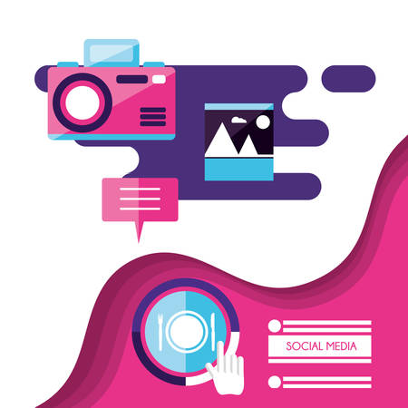 photographic camera with social media icons vector illustration design