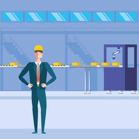 engineer in technified factory vector illustration design Иллюстрация