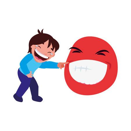 ragazzo emoji faccia pesce d'aprile illustrazione vettoriale Vettoriali