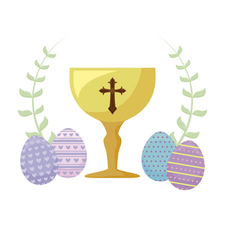 chalice with eggs of easter and flowers vector illustration design
