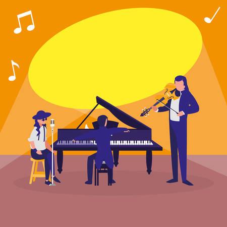 Sänger und Musiker Bandcharaktere Vector Illustration Design