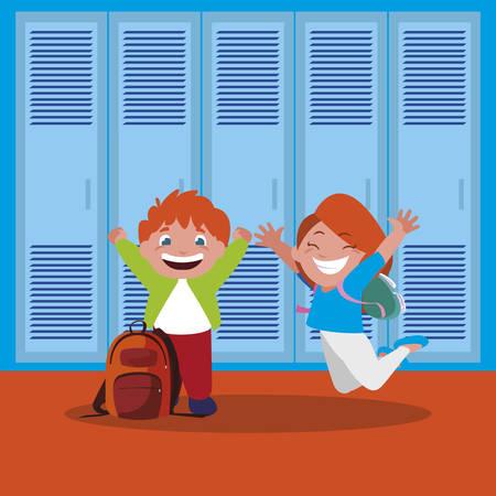 Felices los niños de la escuela en el pasillo de la escuela, diseño de ilustraciones vectoriales