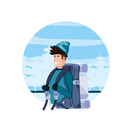 traveler man with travel bag and snowscape vector illustration design