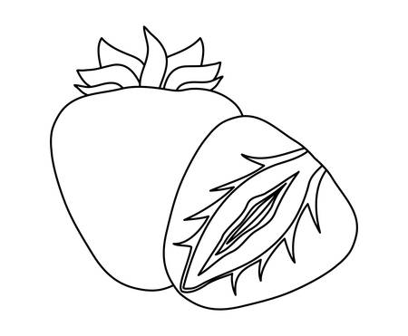 healthy strawberry fruit and slice vector illustration design Ilustração