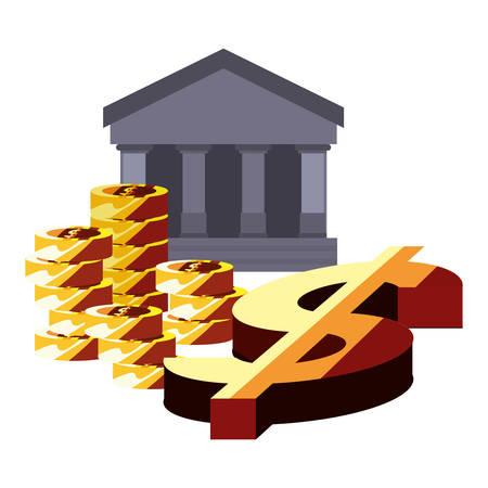business coins stack dollar symbol vector illustration 向量圖像