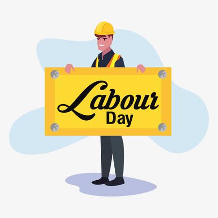 construction worker board vector illustration design image Иллюстрация