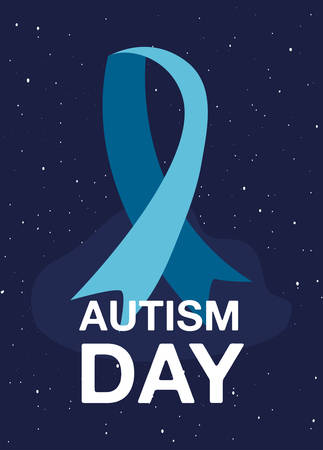 autism day campaign blue ribbon starry background vector illustration