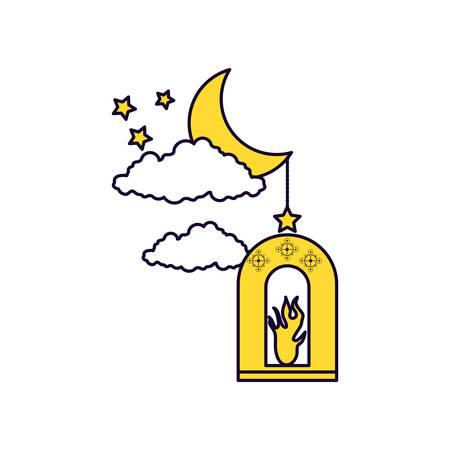 Ramadan Kareem lamp with moon vector illustration design