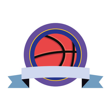 basketball sport ball ribbon badge background vector illustration Ilustracja