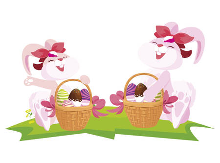 cute rabbits couple with eggs painted in basket vector illustration design Çizim