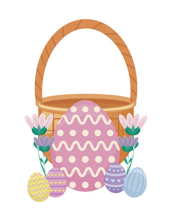 egg of easter with basket wicker and flowers vector illustration design