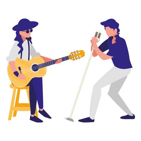 chanteur et musicien couple caractères vector illustration design