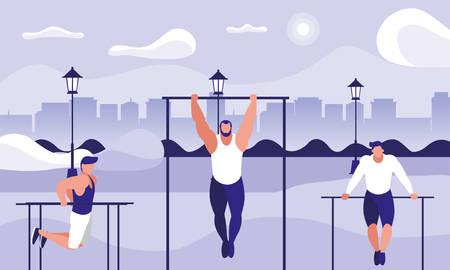 men practicing outdoor gym vector illustration design 向量圖像