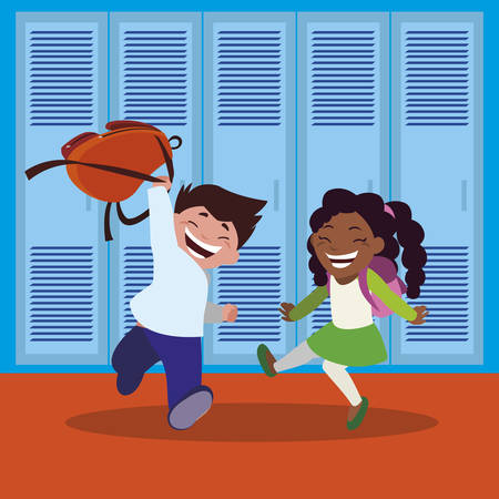 happy little interracial school kids in the school corridor vector illustration design