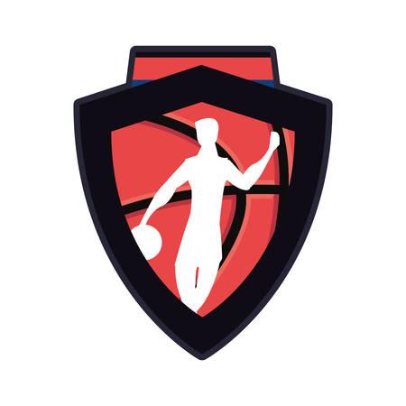 player basketball sport ball emblem vector illustration