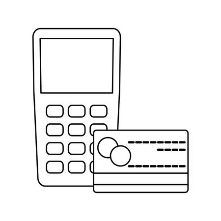 dataphone device with credit card vector illustration design