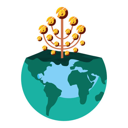 world business tree coins profit vector illustration