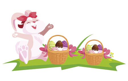 cute rabbit easter female with eggs painted in basket vector illustration design