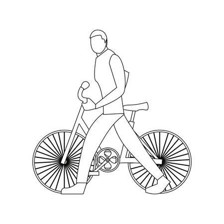 man riding bicycle linear on white background vector illustration Illustration