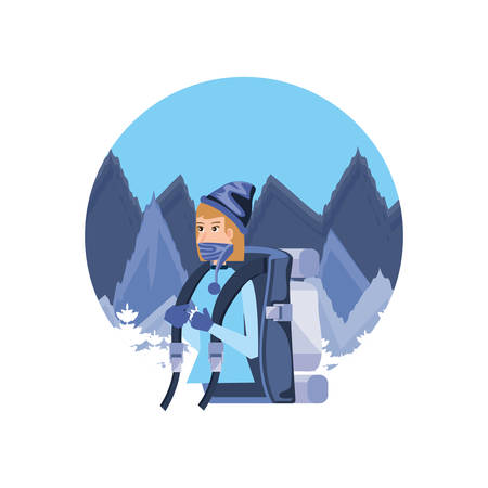 traveler woman with travel bag and snowscape character vector illustration design