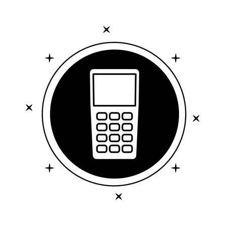 dataphone device in frame circular vector illustration design