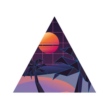 geometric abstract landscape tropical palm vector illustration