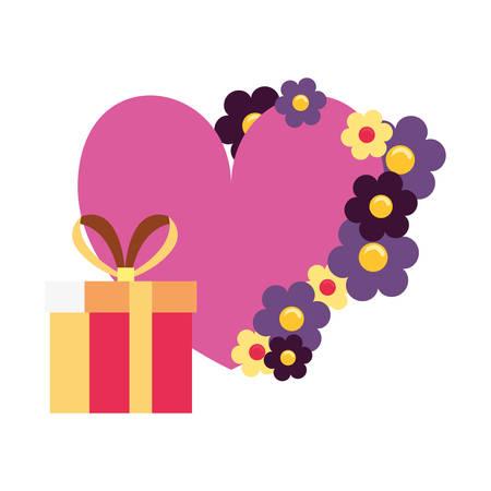 gift box flowers romantic vector illustration