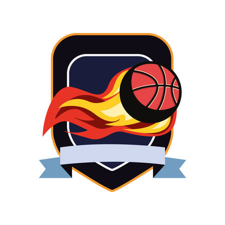 basketball ball enveloped in fire flames vector illustration