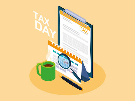 tax day with clipboard and business icons vector illustration design