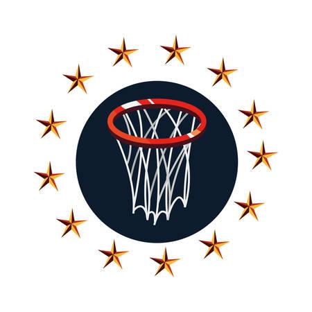 basketball sport hoop emblem vector illustration design