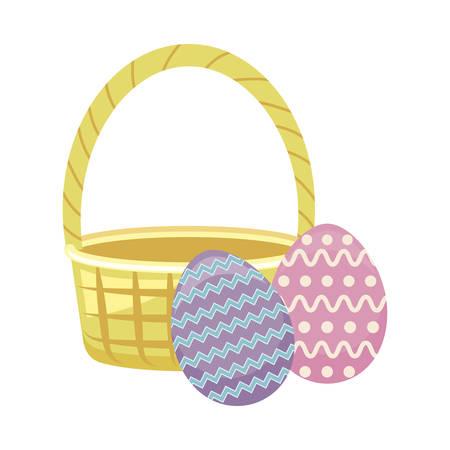 egg of easter with basket wicker vector illustration design