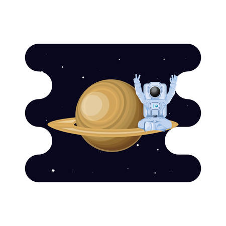 saturn planet with astronaut scene space vector illustration design Çizim