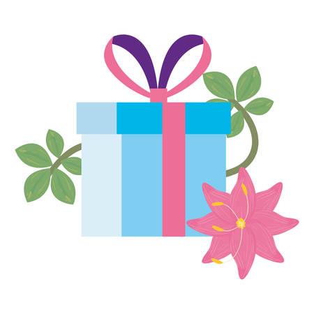 gift box flowers white background vector illustration Vetores
