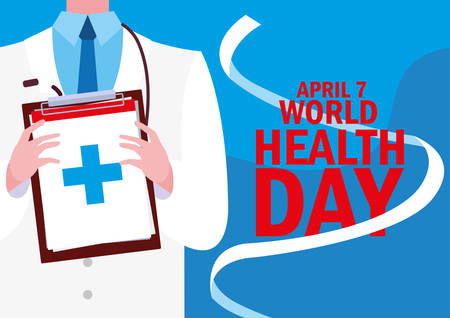 world health day card with doctor vector illustration design Ilustrace