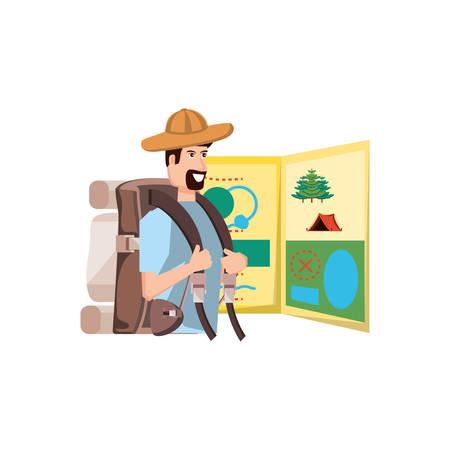 Hombre viajero con bolsa de viaje y guía de mapa, diseño de ilustraciones vectoriales Ilustración de vector