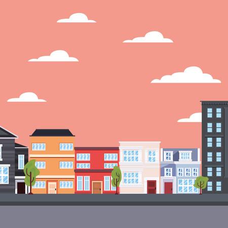 city urban buildings exterior street vector illustration