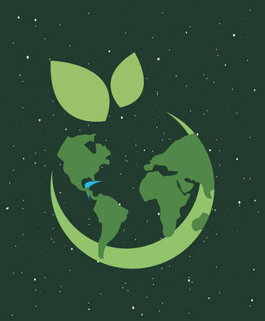 world ecology green background happy earth day vector illustration