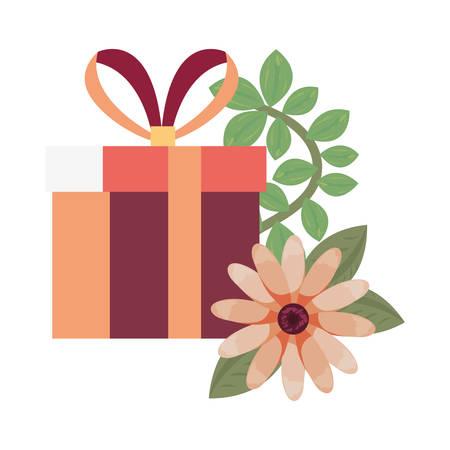 gift box flowers white background vector illustration Ilustração