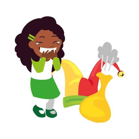 girl prank april fools day vector illustration Ilustração