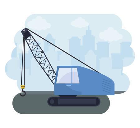 under construction crane truck with cityscape vector illustration design