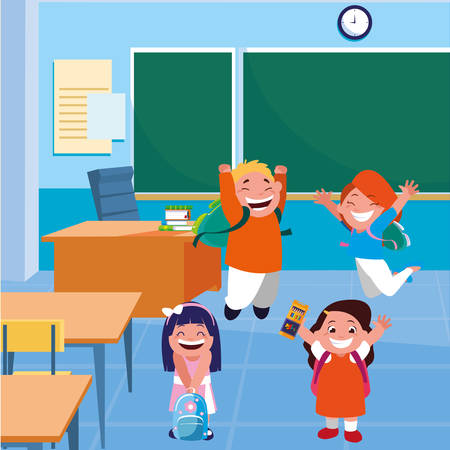 happy little school kids in the classroom vector illustration design