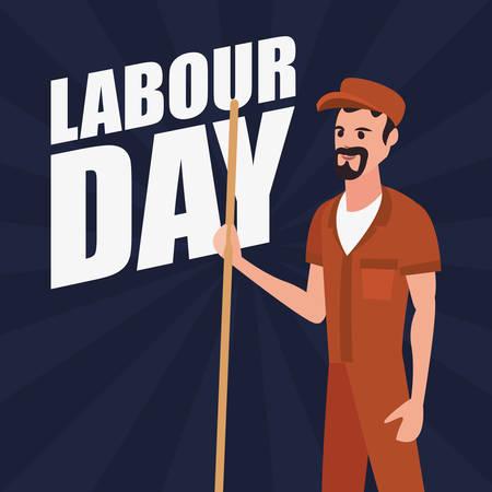 street sweeper employee labour day vector illustration design Illustration