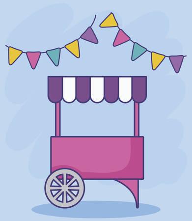carnival kiosk with garlands vector illustration design Ilustração