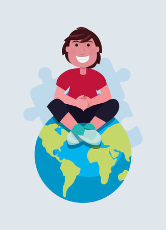 autism day campaign man sitting on world vector illustration Stock fotó - 122843966