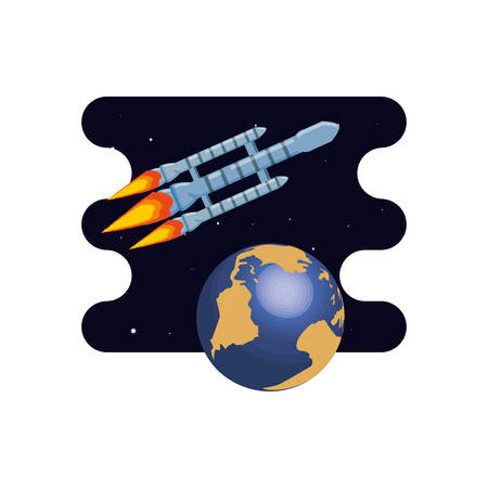 earth planet with rocket scene space vector illustration design