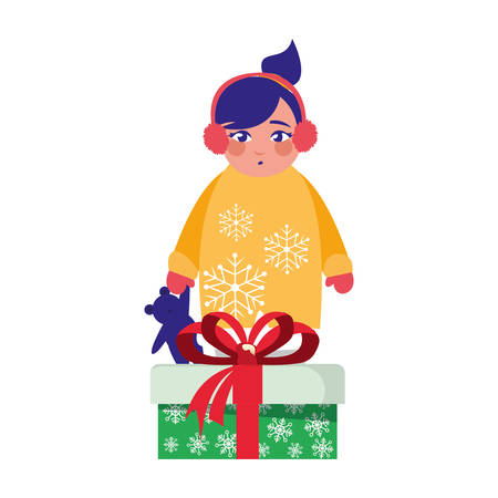 girl with winter clothes and christmas gifts vector illustration Banco de Imagens - 122843998