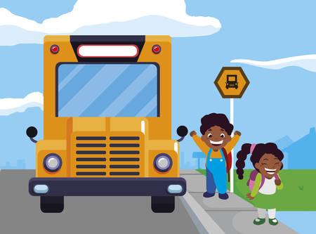 happy little black school kids in the bus stop vector illustration design Illustration